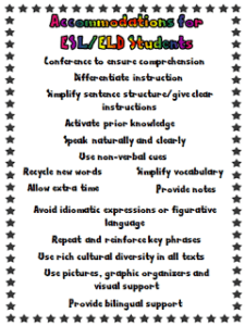 ACCOMMODATIONS FOR ESL / ELL STUDENTS