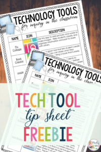 Classroom Tech Tools, Tech Tool tip sheet Freebie