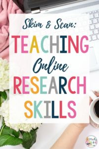These key ideas are important for research skills! Get a skim and scan anchor chart as a free bonus upgrade to help with online research too