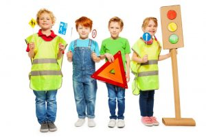 kids smiling construction signals signs