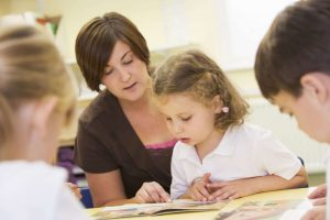 teacher reading with student group guided reading instruction